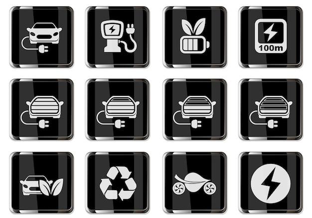 Pictogramas de carros elétricos em botões cromados pretos. conjunto de ícones para design de interface de usuário