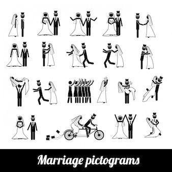 Pictogramas de casamento