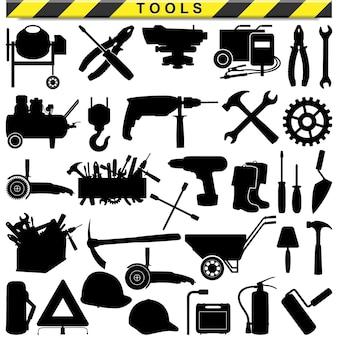 Pictogramas de ferramenta isolados no branco
