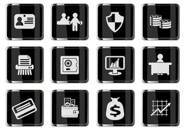 Pictogramas de finanças em botões cromados pretos. ícone definido para seu projeto. ícones do vetor