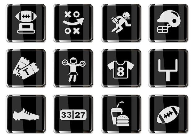 Pictogramas de futebol americano em botões cromados pretos. conjunto de ícones para design de interface de usuário