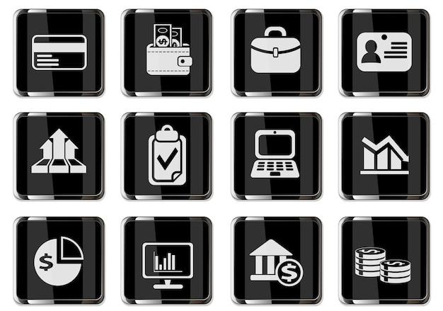 Pictogramas de negócios em botões cromados pretos. ícone definido para seu projeto. ícones do vetor