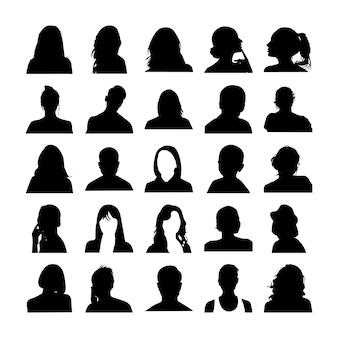 Pictogramas de rostos de homem e mulher