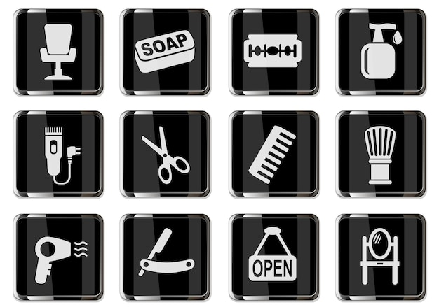 Pictogramas de salão de cabeleireiro em botões cromados pretos. ícone definido para seu projeto. ícones do vetor
