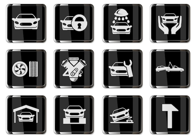 Pictogramas de serviços automotivos em botões cromados pretos. ícone definido para seu projeto. ícones do vetor