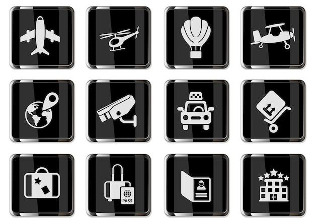 Pictogramas de serviços de aeroporto e transportadora aérea em botões cromados pretos. conjunto de ícones para design de interface de usuário