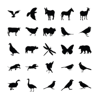 Pictogramas de silhueta de animais