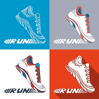 Pictogramas esportivos run na sola do sapato