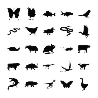 Pictogramas sólidos de animais selvagens