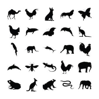 Pictogramas sólidos de animais