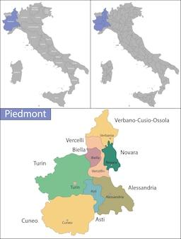 Piemonte é uma das vinte regiões administrativas da itália, no noroeste do país