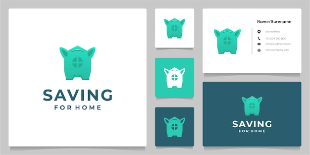 Pig saving home design de logotipo de imóveis com cartão de visita