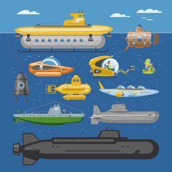 Pigboat do mar submarino ou veleiro marinho subaquático e transporte de navios no oceano profundo ilustração náutica conjunto de barco de transporte com transporte periscop no fundo
