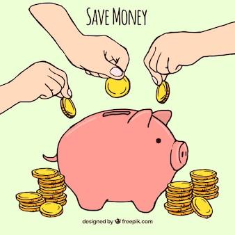 Piggy, banco, mão, desenhado, moedas