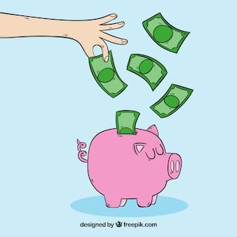 Piggy, banco, notas, fundo