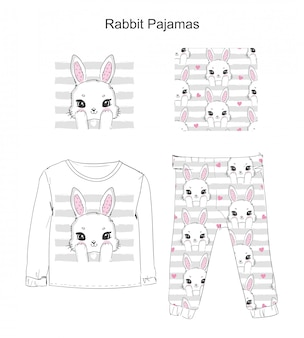 Pijama com um coelho fofo.