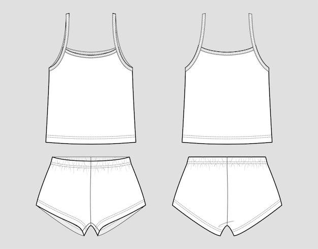 Pijamas. top e cuecas (lingerie). vista frontal e traseira. contorno de moda