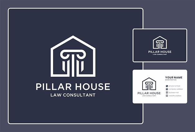 Pilar casa do logotipo do consultor jurídico e design de cartão de visita.