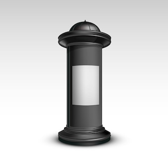 Pilar de suporte preto e branco para publicidade externa