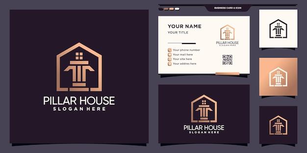 Pilar e logotipo da casa com estilo de arte de linha e design de cartão de visita premium vector