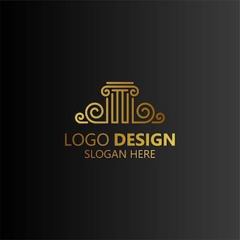 Pilar luxuoso e artístico para o design de logotipo de advogados e advogados