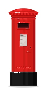 Pilar vertical da caixa de correio vermelho de londres isolado no branco