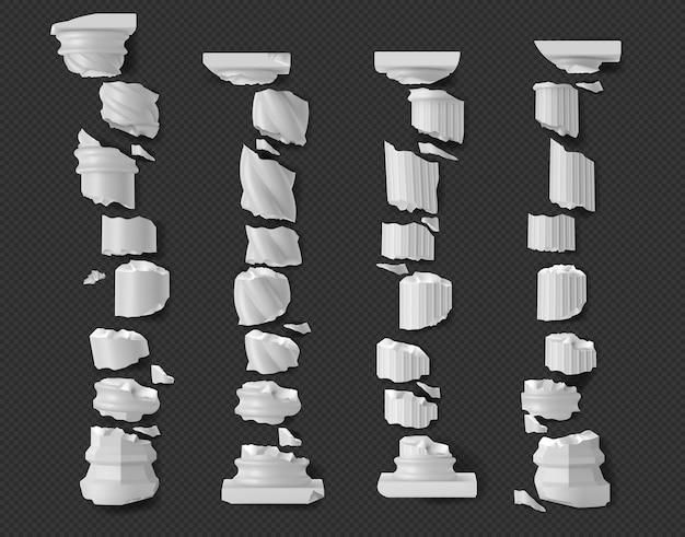Pilares antigos quebrados, peças de colunas brancas em ruínas