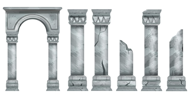 Pilares de mármore romanos definidos vetor antigo pedra grega colunas quebradas coleção arquitetura antiga
