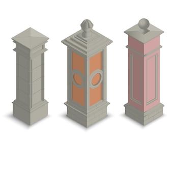 Pilares de portão isométrico