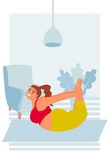 Pilates alongamento e fitness para perda de peso de curvas de gordura mulheres linda garota rechonchuda em arco