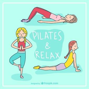 Pilates e relaxar vetor dos desenhos animados