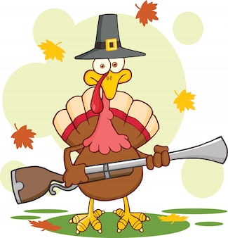Pilgrim turkey bird personagem de mascote dos desenhos animados com um mosquete