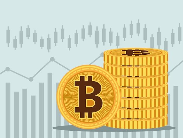 Pilha bitcoins cyber dinheiro tecnologia ícones ilustração vetorial design