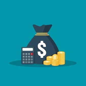 Pilha da moeda de ouro, saco do dinheiro para a economia do lucro. cálculo, dados analíticos, relatório conceito de investimento.