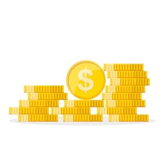 Pilha das moedas do dólar de ouro em design plano. conceito de crescimento do dólar