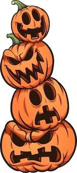Pilha de abóbora de halloween com diferentes expressões. ilustração de clip art.
