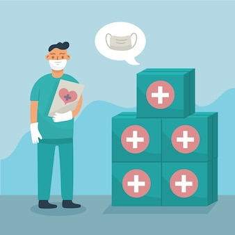 Pilha de artigos sanitários doados