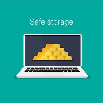 Pilha de barras de ouro brilhantes ou lingotes no conceito de armazenamento seguro da tela do monitor do laptop