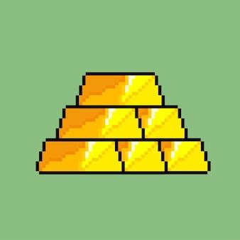 Pilha de barras de ouro com estilo pixel art