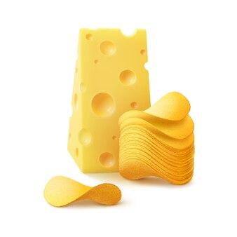Pilha de batata frita crocante com queijo close-up isolado no fundo branco