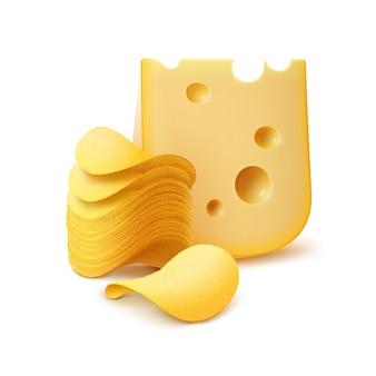Pilha de batatas fritas crocantes de batata com queijo isolado
