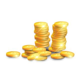 Pilha de bitcoins de ouro