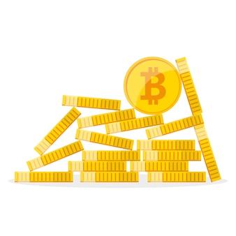 Pilha de bitcoins dourados. ilustração.