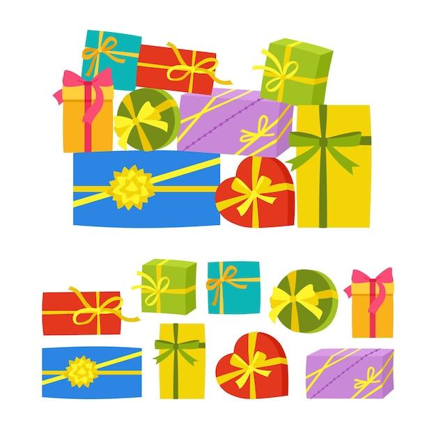 Pilha de caixa de presente com fita desenho animado festa de aniversário, saudação, compra, venda