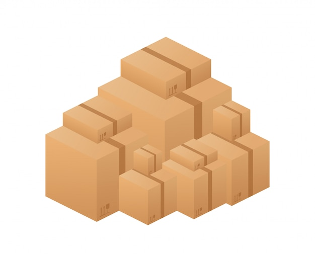 Pilha de caixas de papelão de mercadorias seladas empilhadas.