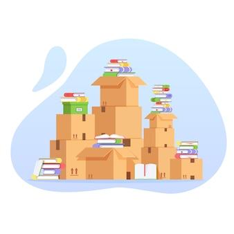 Pilha de caixas de papelão e livros