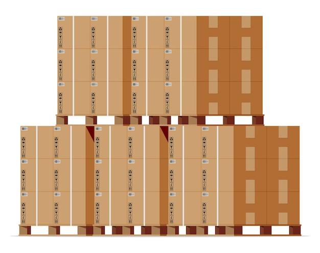 Pilha de caixas de papelão em paletes de madeira isoladas em branco