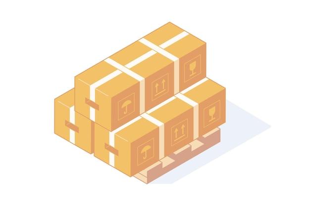 Pilha de caixas de papelão isométricas em paletes de madeira para o conceito de entrega e armazenamento.