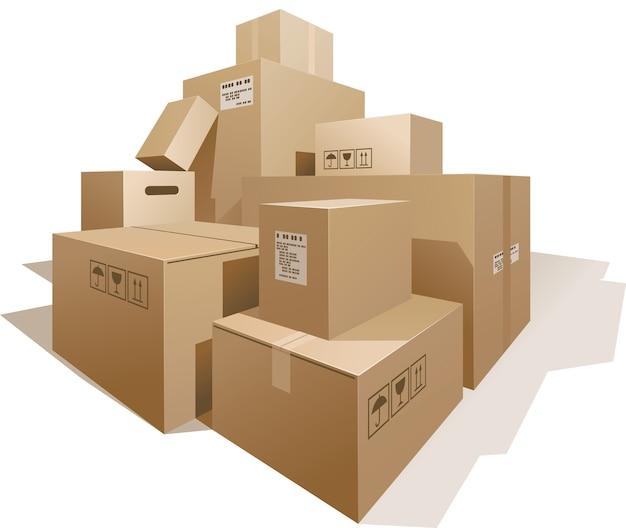 Pilha de caixas isoladas em branco