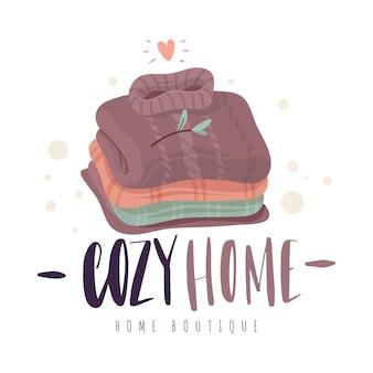 Pilha de camisolas. roupas de malha de lã dobradas aconchegantes, conforto escandinavo, tecidos naturais, pulôveres retrô de inverno. conceito